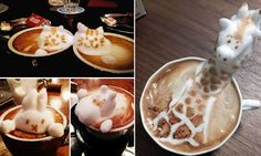 The arty latte... or how to turn coffee into sculpture: Japanese artist creates foamy artworks using toothpick and a spoon #DailyMail