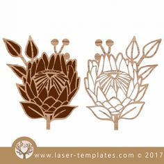 Protea cut and engrave laser template, design, pattern.