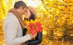 осень, парень, листья, девушка, парк