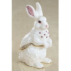 """WHITE RABBIT BOX  An iridescent finish this white bunny box is accented with faceted pink and clear crystals. Measures 3.5"""" high. $29;  item # EA4144"""