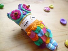 Rainbow Felt Doll Brooch