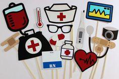 Enfermera Photo Booth Props 15 Pc médico por PAPERandPANCAKES