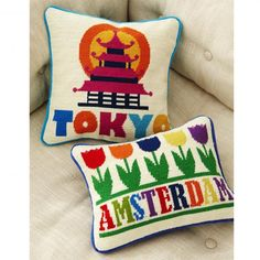 Amsterdam Needlepoint Throw Pillow