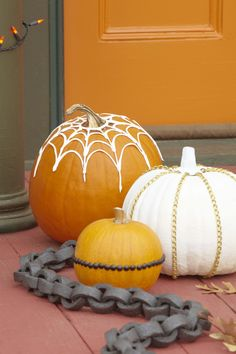 Skip the slimy seeds this Halloween. Decorate pumpkins with spray paint and common hardware supplies for a one-of-a-kind look.
