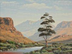 Precious Tips for Outdoor Gardens - Modern Landscape Art, Landscape Paintings, Landscapes, Oil Paintings, South Africa Art, African Art Paintings, South African Artists, Landscaping With Rocks, African Elephant