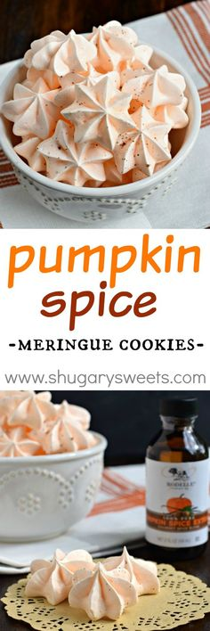 Melt in your mouth Pumpkin Spice Meringue Cookies are the perfect fall ...