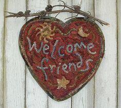 Bienvenue tapis de choix de coeur 3 crochet par primitivespirit