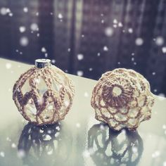 Christmas ornaments 🎄🎁 #diy #glassbulbs #handmade #crochet #craft #christmas #holidayseason #decoration #retro