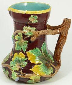 majolica pottery | MAJOLICA POTTERY COPELAND PITCHER LEAF SNAIL Majolica, earthenware by ...