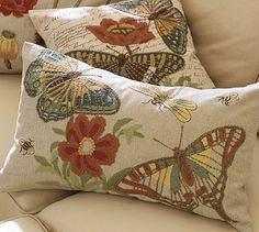 Pottery Barn pillow covers.  I am a total sucker for crewel embroidery, and I love the colors used here.