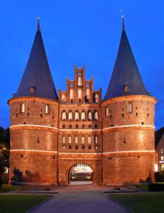 Holstentor - medieval city gate of Lubeck, Germany