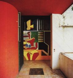 A mural painted by Le Corbusier in the entrance of Eileen Gray's E1027 home in the South of France