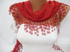 Women  Red Cotton Scarf  Headband  Cowl with Lace Edge  by DIDUCI, $13.50