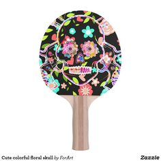Shop Cute colorful floral skull Ping-Pong paddle created by ForArt. Ping Pong Paddles, Floral Skull, Two By Two, Colorful, Cute, Gender, Group, Unisex, Design