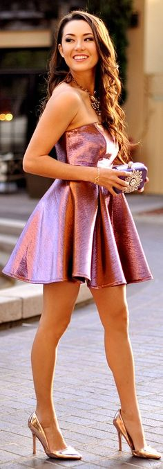 Topshop Pink Metal Strapless Party Skater Dress by Hapa Time