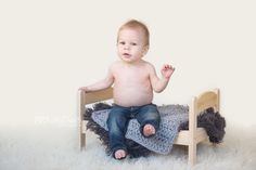 9 month old boy photo, 9 month milestone photo, 9 month photo shoot, 9 month pose, Ikea doll bed, doll bed prop   {Ashley Danielle Photography: Seattle Baby Photographer | Maple Valley, WA}