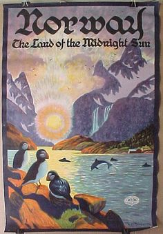 Vintage Poster Giclee Print: Norway - The Land of the Midnight Sun - Norwegian Fjord with Atlantic Puffins by Ben Blessum : - Art Vintage, Vintage Ads, Vintage Canvas, Vintage Designs, Land Of Midnight Sun, Illustrations Vintage, Kunst Poster, Tourism Poster, Retro Poster