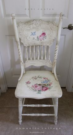 Did you know that we do custom work at our studio? If you need something built or have a special piece that you would like painted, we would be happy work with you. We also work with decorators worldwide. Here is a custom chair painted for a very special lady. So please stop by and see all that we offer and what we can paint especially for you.  Visit http://www.debicoules.com/