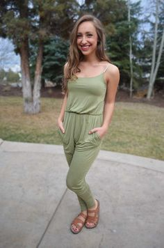 Carry On Jumpsuit - Olive