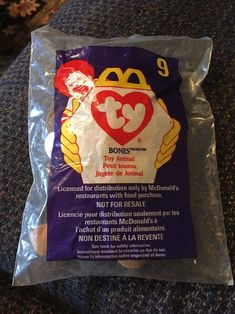 McDonald's * TY * Bones * Dog * No. 9 * 1998 * NEW, sealed  | eBay Rare Beanie Babies, Mcdonald's Restaurant, Ty Beanie Boos, Mcdonalds, Cool Toys, Pet Toys, Bones, Seal, Dog