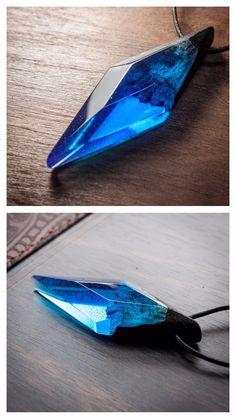 Wood and resin cosmic crystal, Galaxy piece pendant, Modern jewelry, Minimalism art, Rhombus necklace