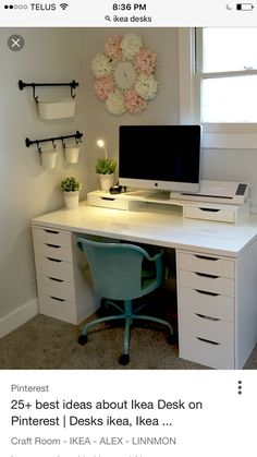 42 Inexpensive Craft Room Ideas From Ikea 48 Craft Room Ikea Alex Linnmon Craft . - 42 Inexpensive Craft Room Ideas From Ikea 48 Craft Room Ikea Alex Linnmon Craft Room 4 - Craft Room Office, Home Office Decor, Room Design, Interior, Home, Room Inspiration, Room Decor, Functional Desk, Bedroom Decor