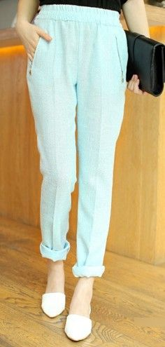 Mint Elastic Waist Zip Pockets Linen Harem Pant