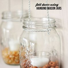 Fall decor using mason jars.