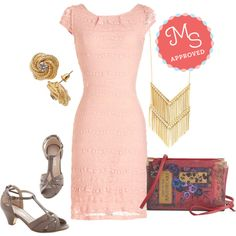 In this outfit; Lavishly Lovely Dress, What Shines Is Yours Necklace, Pretty with a Twist Earring, Architectural Tour Heel in Cement, Elusive Edition Bag #lacedress #bookclutch #studs