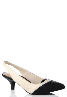 Platinum Navy &amp White Stripe Wide-Width Kitten Heel | Kitten heels