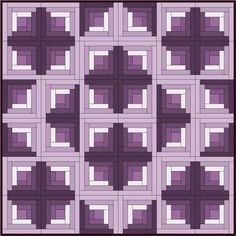 Log Cabin Variation 2A Quilt Pattern. A Traditional Log Cabin Block, color variation. by piecemealquilts.com