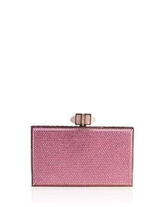V2BDU Judith Leiber Couture Neiman Marcus Exclusive Crystal Coffered Rectangle Clutch Bag, Silver/Light Rose