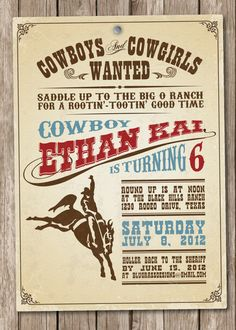 Custom Birthday Party Invitation by BluGrass Designs - Cowboy and Cowgirl (more…