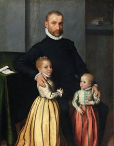 Giovanni Battista Moroni Portrait of a Gentleman and His Two Children, Oil on canvas 49 x 38 inches, National Gallery of Ireland Collection, Dublin; Purchased, 1866 Photo: © National Gallery of Ireland Renaissance Portraits, Renaissance Paintings, Renaissance Fashion, Italian Renaissance, Renaissance Art, Renaissance Clothing, National Gallery, Italian Paintings, Royal Academy Of Arts