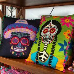 Dia de los Muertos Embroidery Pillows Catrinas Skulls
