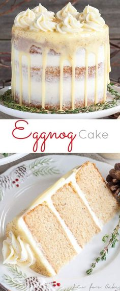 This rum spiked Eggnog Cake with cream cheese frosting and white chocolate ganac., Desserts, This rum spiked Eggnog Cake with cream cheese frosting and white chocolate ganache is just the thing to warm you up this Holiday season! Holiday Snacks, Christmas Desserts, Holiday Recipes, Christmas Treats, Christmas Cookies, Christmas Recipes, Christmas Appetizers, Halloween Appetizers, Holiday Appetizers