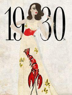 """Đối lập với phong cách nổi loạn của thập niên 20, thời trang những năm 30 thể hiện  sự nữ tính, sang trọng với những chiếc váy dài ôm eo. Chọn hình ảnh minh họa cho thời kì này, Eko đã mô phỏng lại chiếc váy """"Tôm Hùm"""" kết hợp giữa nhà thiết kế Elsa Schiapareli và họa sĩ nổi tiếng Dali Salvador"""