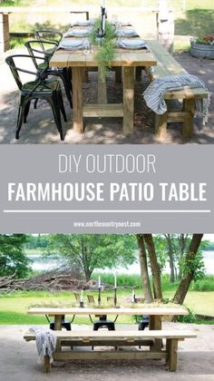out this quick and easy tutorial on how to make an outdoor farmhouse patio table!Check out this quick and easy tutorial on how to make an outdoor farmhouse patio table! Rustic Patio, Wood Patio, Patio Dining, Patio Table, Backyard Patio, Dining Table, Dining Sets, Ikea Patio, Table 19