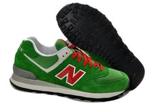 New Balance 574 laced up Sneakers Unisex Mens Womans Shoes Green/Red ML574UV