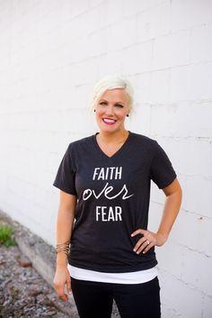 Image of Faith Over Fear V-Neck T-shirt