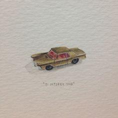 Day 303 : Vir Karretjies. 28 x 10 mm. #365paintingsforants  #miniature #watercolor #toy #car