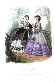 Mode Vintage Illustration, Firmin Didot, Civil War Fashion, Victorian Costume, Key Design, American Civil War, Fashion Plates, Old Pictures, Victorian Fashion