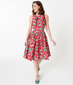 0260814622 Unique Vintage 1950s Style Watermelon Print Doheny Swing Dress Rockabilly  Fashion