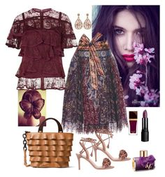 """""""Plum Ruffled🍇🍷"""" by parnett ❤ liked on Polyvore featuring Etro, Elie Saab, Michael Kors, Gianvito Rossi, ASOS, Tom Ford and Luxiro"""