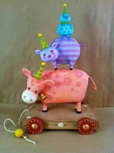 Farm Critters Pull Toy - Contemporary Folk Art Doll by Carrie Murtha on etsy
