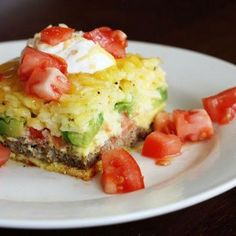 Breakfast Casserole 12 thawed cooked breakfast sausage patties 3 sliced tomatoes 2 sliced avocados 12 eggs 1 c. milk 1 lb thawed hash browns 1 C shredded cheddar 1 tsp salt ½ tsp pepper extra cheddar cheese for topping. ◦Layer the bottom of a greased 9x13 pan with sausage then tomatoes, then avocado. ◦In a bowl, beat eggs and milk. Stir in all other ingredients. Add to pan. ◦Bake at 350 for 35-45 min until l set. Top with extra cheddar so it melts . Top with salsa or sour cream