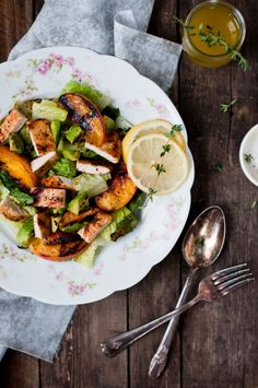Grilled Lettuce and Peach Salad from Kiran + Tarun