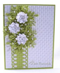 KC Flower SPray Front I have recently posted tutorials on how I create punched paper flowers and punched floral wreaths. This tutorial shows how I create a floral spray. Pretty Cards, Cute Cards, Diy Cards, Flower Cards, Paper Flowers, Tiny Flowers, Scrapbook Cards, Scrapbooking, Flower Spray