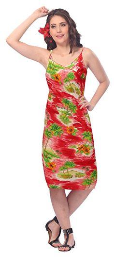 La Leela Coconut Tree Printed Beach Swim Sarong Swim Wrap Sundress Red