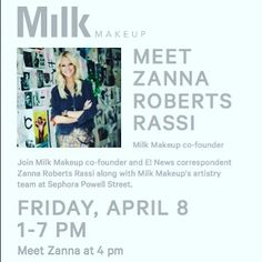 Hey Bay Area!  Fancy a glass of champagne with the uber-cool Zanna Roberts Rassi Milk Makeup co-founder & E! News Correspondent?  Stop by #sephorapowell today from 4-7pm! @zannarassi @milkmakeup @wearesephora @sephora by gianna_sephora